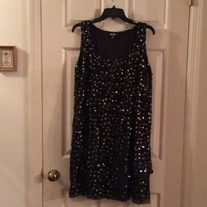 NWT DKNY Silk Dress , gold and silver  dots